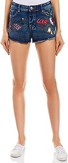 oodji Ultra Donna Shorts in Jeans con Disegno e Ricami