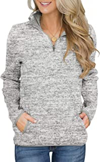 Women Casual 1/4 Zip Sweatershirt Long Sleeve High Collar Pullover Tunic Top with Pocket