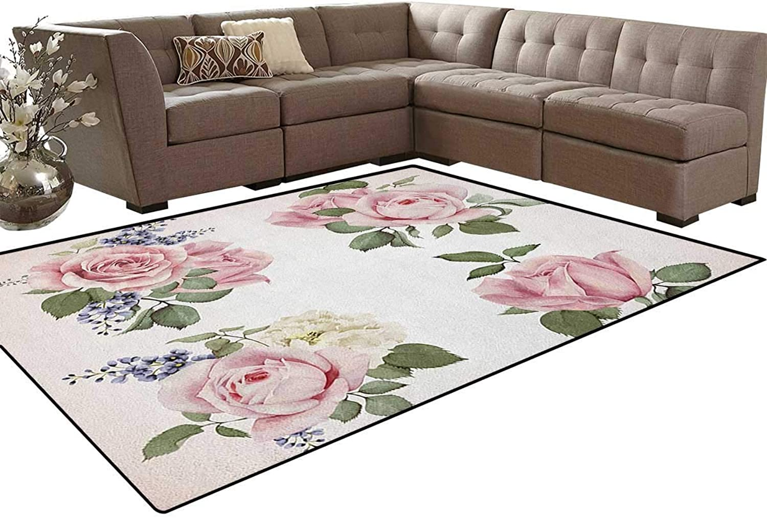 Springtime Set of Bouquets of pinks Bridal Flora Corsage Gentle Nature Floor Mat Rug Indoor Front Door Kitchen and Living Room Bedroom Mats Rubber Non Slip