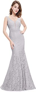 Womens Romantic Sexy Lace Floor Length V-Neck Evening Prom Dress 08838