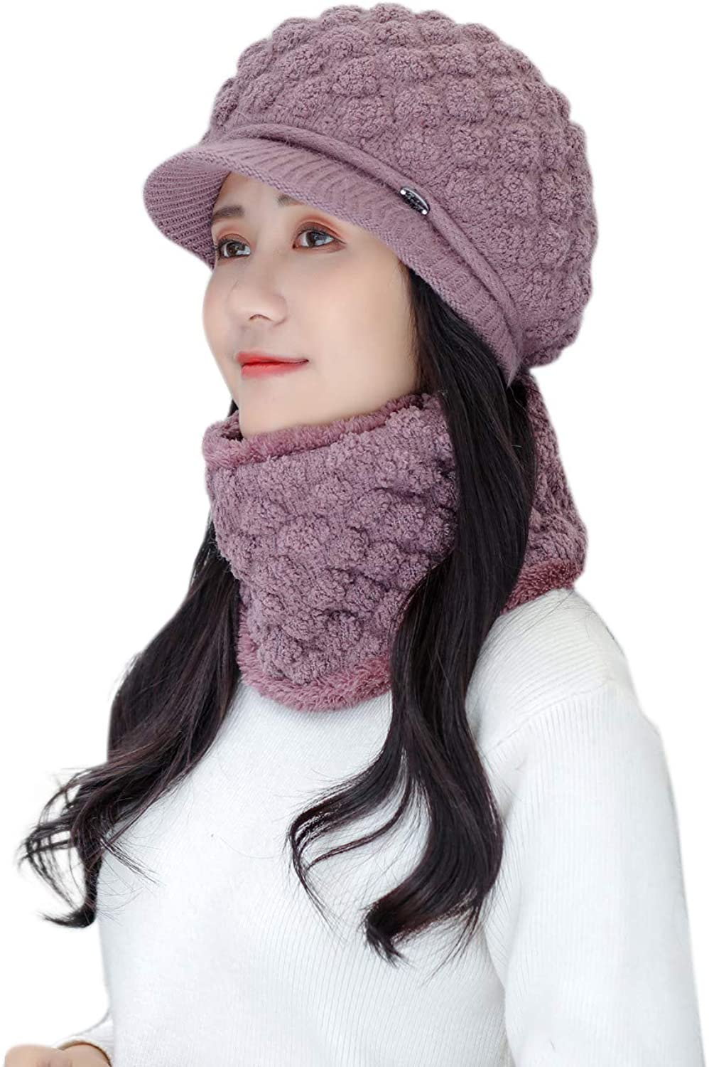 Winter Warm Hat Set, All-Match Berets Cap Scarf Suit, Fashion Knitted Cashmere Scarf - Hats Suit