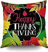 Ruthxiaoliang Funda de Almohada de Arte, tipografía Feliz día de acción de Gracias Fondo de Color de otoño Raster Copydecorative Square Throw Pillow Covers