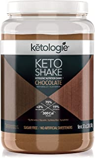 Ketologie Collagen Keto Shake (Chocolate) - with Coconut Oil, Grass Fed Hydrolyzed Collagen Peptides Type I & III, Low Car...