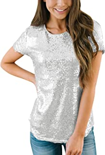 Spadehill Womens Christmas Party Short Sleeve Sequin Shirts