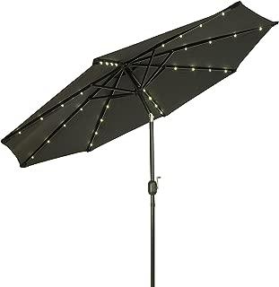 Trademark Innovations Deluxe Solar Powered LED Lighted Patio Umbrellas, 9', Black