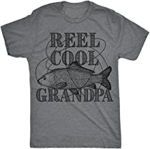 Mens Reel Cool Grandpa Tshirt Funyy Outdoor Fishing Tee for Fathers Day