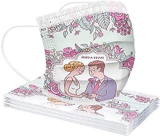 GPure 10/50/100 Pcs Adultes Bandana Couple Amoureux Modèle Imprimé 2021 Happy Valentine's Day Respirant Confortable Doux C...