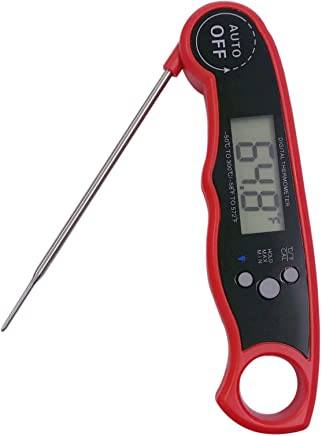 Waterproof Digital Meat Thermometers, Super Fast Instant Read Thermometer with Calibration and Backlight Functions, Food Thermometer for Kitchen BBQ and Outdoor Cooking (Red)