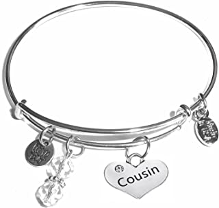 Women's Made in USA Stainless Steel Message Charm Expandable Wire Bangle Bracelet,..