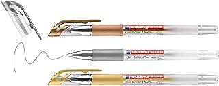 edding 2185 gel roller - gold, silver, copper (metallic) - set of 3-0.7 mm - gel pen for writing, drawing, colouring manda...