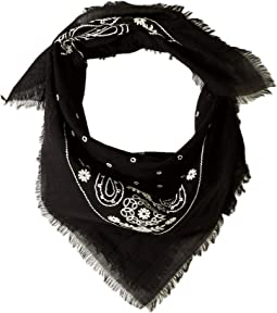 Embroidered Cotton Bandana Scarf