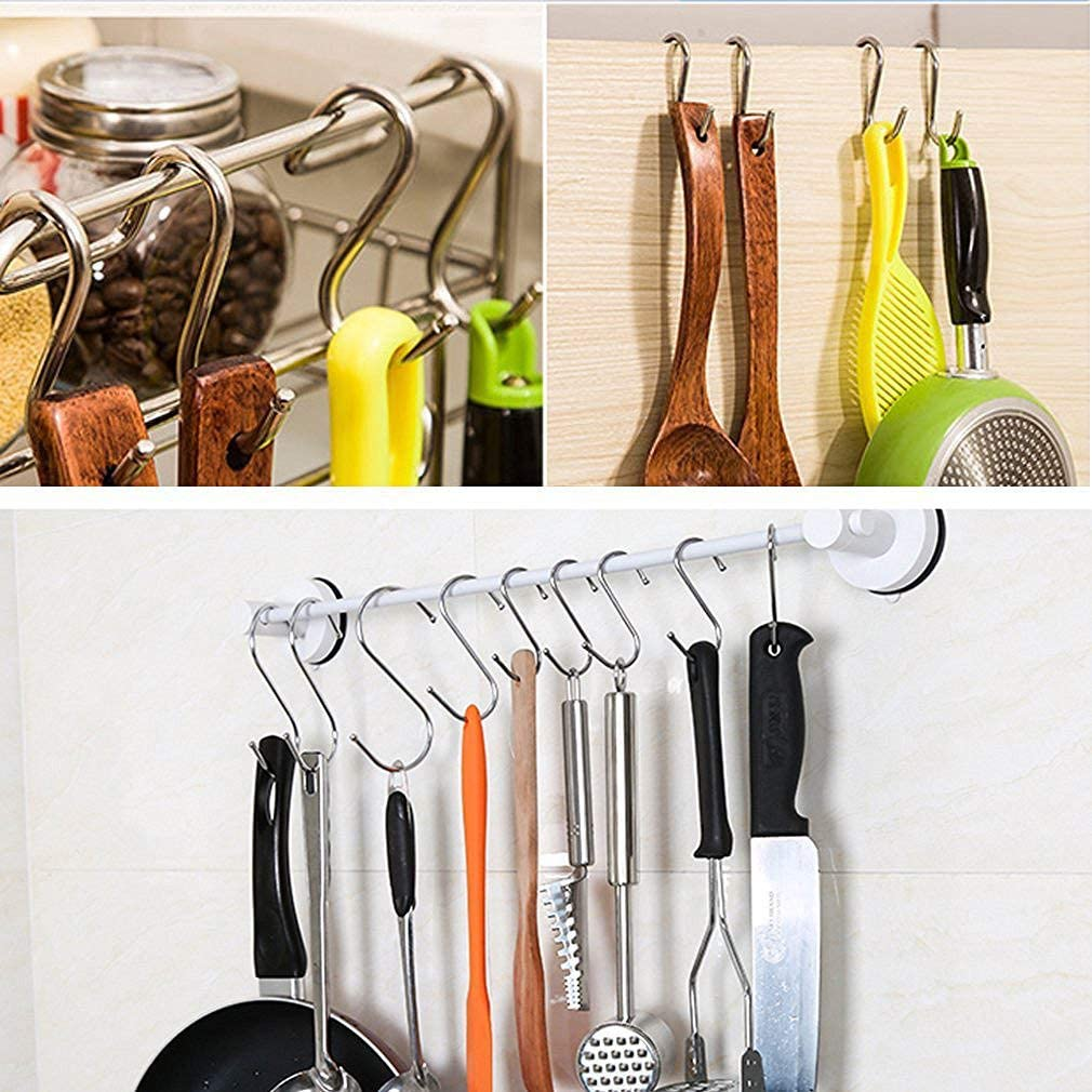 Bathroom Emoly 20 Pack Heavy Duty s Hooks Stainless Steel S Shaped Hanging Hooks Hangers for Kitchen Bedroom and Office Silver