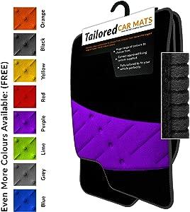 Fully Tailored Car Mats Weld Wide Heel Pad Black Carpet Black Ribbed Trim Purple Weld Wide Heel Pad Car Mats