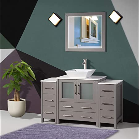 Amazon Com Vanity Art 54 Inch Single Sink Bathroom Vanity Set 1 Shelf 8 Drawers Quartz Top And Ceramic Vessel Sink Bathroom Cabinet With Free Mirror Va3130 54 G Kitchen Dining