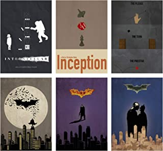 Christopher Nolan Minimalist Poster Set of 6 Films Interstellar Batman Begins The Dark Knight The Dark Knight Rises Incept...