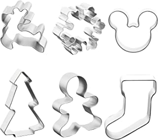 Winter Christmas Cookie Cutter Set Stainless Steel Baking Shape Mold for Making Muffins Biscuits Sandwiches - Snowflake, Gingerbread Men, Christmas Tree, Reindeer, Socks, Mickey - 6-Piece