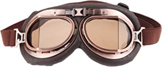 MUXSAM 1PC Motorcycle Goggles Steampunk Vintage Earhart Goggles Pilot Outdoor Sand Goggles for Half Helmet Cruiser Scooter...
