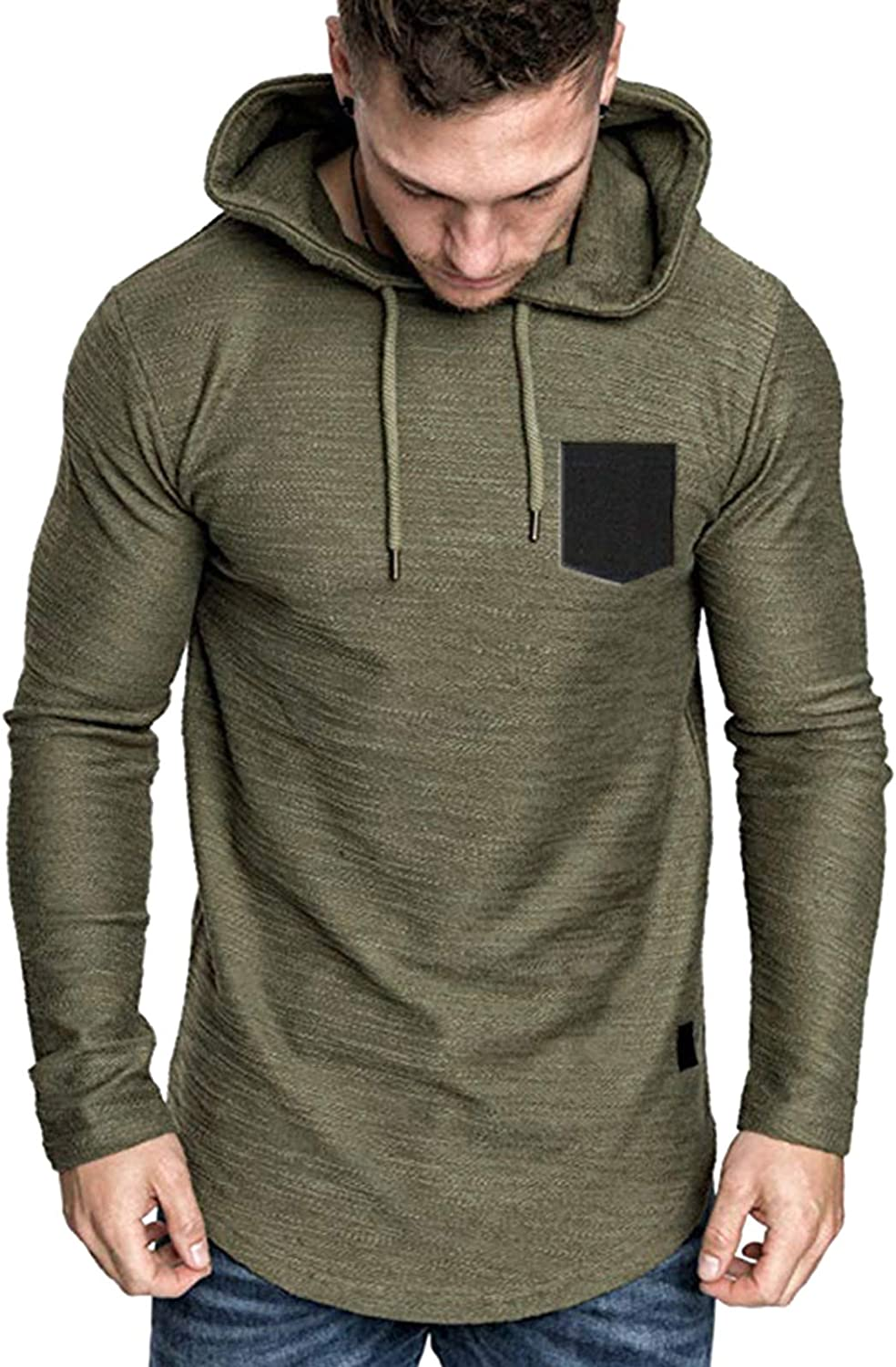 Mens Fashion Hoodie Athletic Solid Color Sweatshirt Lightweight Pocket stitching Sport Pullover