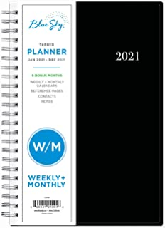 Blue Sky 2021 Weekly & Monthly Planner, Flexible Cover, Twin-Wire Binding, 5