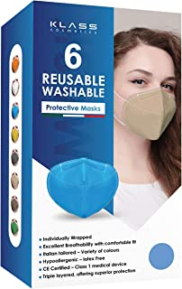 Klass Cosmetics Adult Reusable Washable Comfortable Protective Cloth Face Masks Comes with Squeezable Metal Nose Strip for...