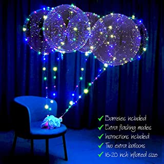 lightsfever LED Balloons with Batteries Included-Light up Bobo Party Clear Balloons, DIY kit 6pc with Extra Flashing Modes