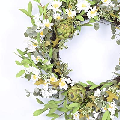 Huashen 24 Inch Spring Front Door Wreath,Daisy Artichoke Grapevine Wreath, Cluster Twig Floral Decor Wreath for Festival and Everyday (White)