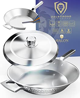 """DALSTRONG 12"""" Frying Pan Skillet - The Avalon Series - 3 Quart - 5-Ply Copper Core - Hammered Finish - Silver Cookware - ..."""