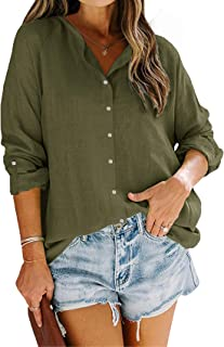 FUERI Womens Blouse Long Sleeve Shirts Summer Collarless Button V Neck Loose Fashion Tops