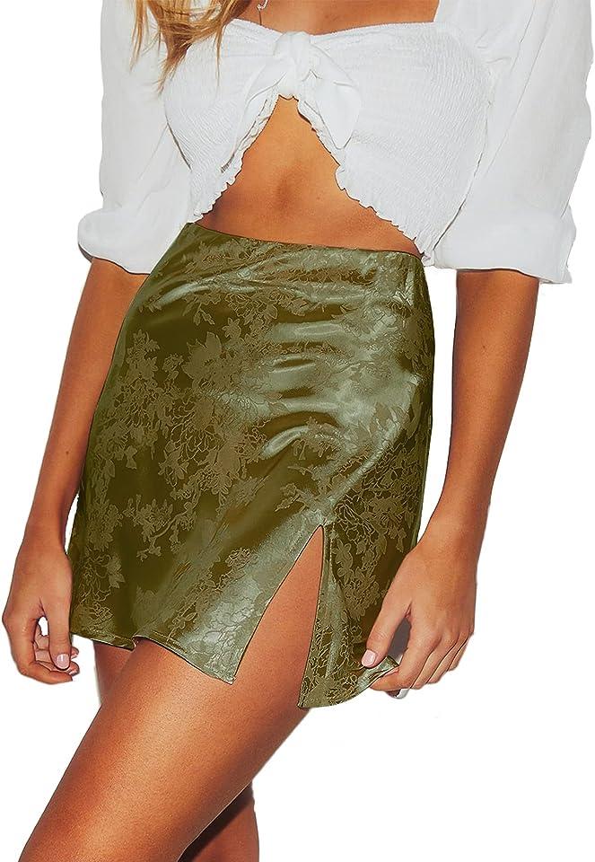 LYANER Women's Elegant Jacquard Side Split Slit Zipper High Waist Mini Short Skirt