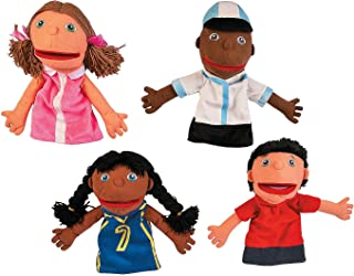Fun Express Happy Kids Puppets - Set 1 - 4 Pieces - Educational and Learning Activities for Kids