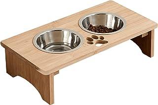 """کاسه های حیوانات خانگی MRECHIR برای گربه ها و سگ ها ، کاسه های آب و غذای گربه ای بامبو سگ خوراکی برای سگها و گربه های کوچک تا بزرگ (4 """"بلند)"""