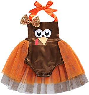 Newborn Infant Baby Girls Turkey Halter Onesie Romper Bodysuit Princess Tulle Dress Thanksgiving Halloween Outfit
