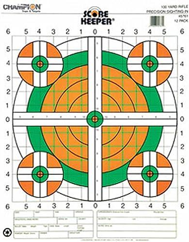 Champion Traps and Targets Champion Score Keeper Fluorescent Orange Vert Bull 100 Verges Vue-Rifle Cible (Paquet de 100)