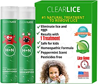 ClearLice® Lice Treatment Shampoo and Conditioner - 1 Day Treatment Kit - Get Rid of Head Lice, Super Lice and Nits - Natural Enzymes and Essential Oils - Non Toxic and SLS Free - 8 oz Bottles