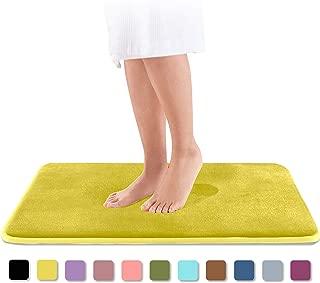 Genteele Memory Foam Bath Mat Non Slip Absorbent Super Cozy Velvet Bathroom Rug Carpet (17 inches X 24 inches, Mustard)