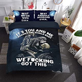 Skull Duvet Cover Set It's You and Me Printed Bedding Duvet Cover with Zipper Closure, 3 Pieces (1 Duvet Cover +2 Pillow Cases), Ultra Soft Microfiber Bedding Queen Size