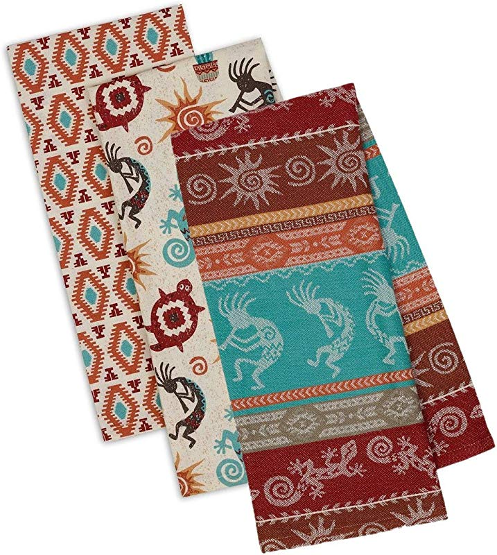 Southwestern Themed Decorative Cotton Kitchen Towel Set Southwest Boho Western Style Print 3 Towels For Dish And Hand Drying