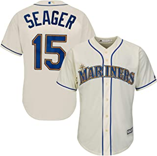 Outerstuff Kyle Seager Seattle Mariners #15 Cream Youth Cool Base Alternate Replica Jersey