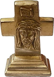 PARIJAT HANDICRAFT Brass Statue Jesus Christ On Cross: Small Idol for Car Dashboard, Table, Shop Counter