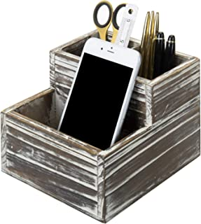 MyGift 3-Slot Rustic Torched Wood Decorative Desktop Pen and Pencil Holder Cup/Office Stationary Supplies Organizer