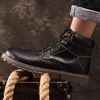 Men Boot Soft Leather Cowboy Ankle Boots Western Boots For Zipper Lace Up Ankle Boots