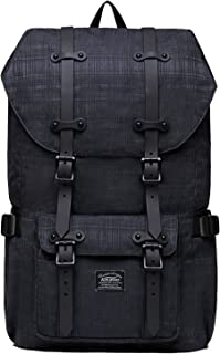 "Laptop Outdoor Backpack, Travel Hiking& Camping Rucksack Pack, Casual Large College School Daypack, Shoulder Book Bags Back Fits 15"" Laptop & Tablets by Kaukko (2Line Black)"