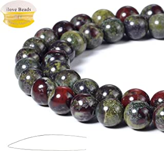 ILVBD Natural Round Dragon Blood Gemstone Beads 4/6/8/10/12MM for DIY Jewelry Bracelet Making Bulk (Dragon Blood, 8MM)