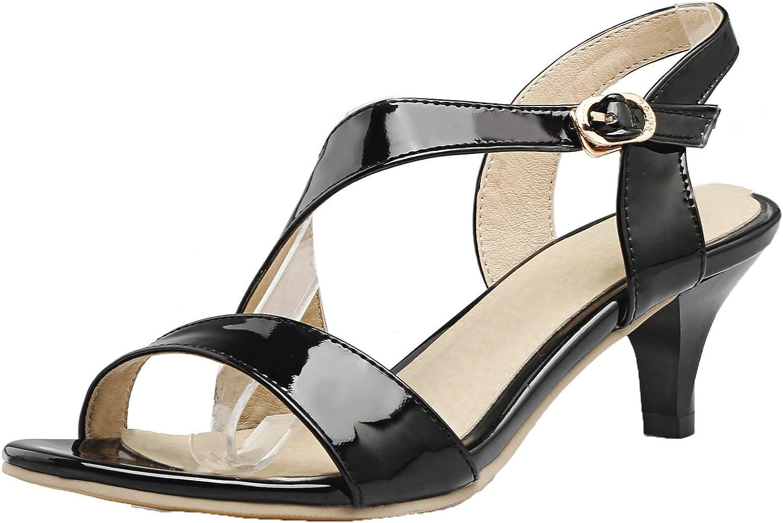 AmoonyFashion Women's Open-Toe Kitten-Heels Patent Leather Solid Buckle Sandals, BUSLS005354