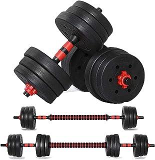 FcrenHuang Adjustable Weights Dumbbell Set, 44LB/20KG 3 in 1 Adjustable Dumbbells Barbell Set with Connecting Rod for Men ...