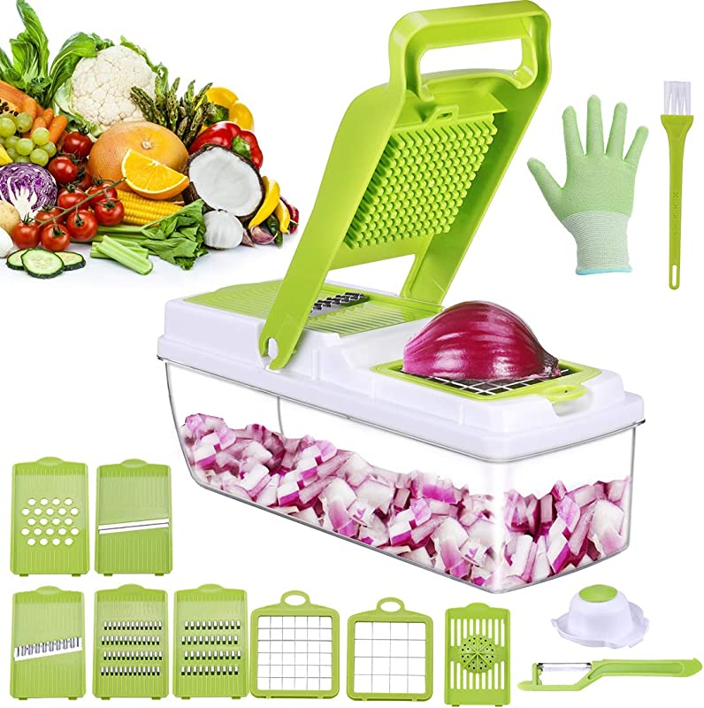 Vegetable Chopper Onion Slicer Stainless Steel Veggie Slicer With Easy Fast Cut Dishwasher Safe With Less Work 5 Protection System No Clogging Veggis Dicer Great For Onion Tomato Potato Etc
