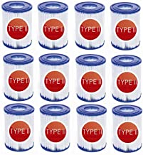 Denkmsd Filtro de Piscina Tipo 2,Adecuado para Bestway 58094 Elemento de Filtro tamaño II,Accesorio para Piscina, Filtro antisuciedad, Cartucho de Filtro de Repuesto (12 Unidades)