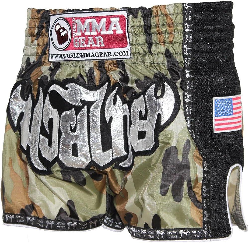 Thai Boxing World MMA Gear Premium Muay Thai Shorts by Handmade Retro MMA Kickboxing