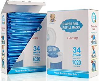 Diaper Pail Refill Bags, Fully Compatible with Arm&Hammer Disposal System Seal and Toss Diaper Pail Refills,1020 Counts, 3...