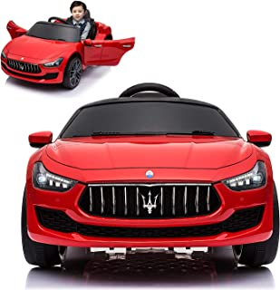 Maserati Ghibli Electric Ride On Car with Remote Control for Kids   12V Power Battery Official Licensed Kid Car to Drive with 2.4G Radio Parental Control Opening Doors Red